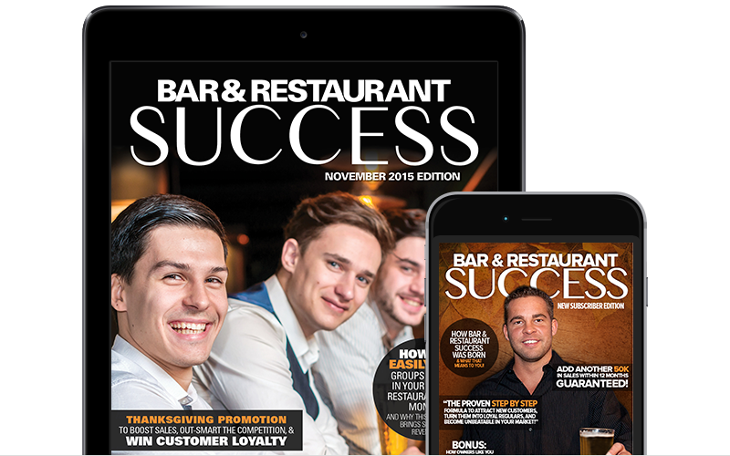 Picture of a mac up on Bar Restaurant Success Magazine on an Apple iPad and Apple iPhone